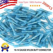 200pcs Blue Heat Shrink Butt Seal Wire Connectors Crimp Terminals 14-16 Gauge US