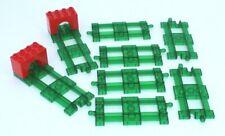 Lego Duplo 6 x gerade Schiene transparent grün + 2 End gleis Intelli Eisenbahn