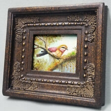 Miniature oil painting beautiful yellow bird on tree branch in ornate frame