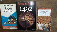 3 livres de Jacques Attali Lignes d'horizon 1492 les juifs le monde et l' argent
