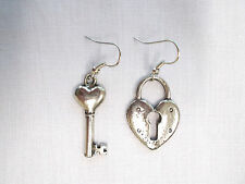 UNIQUE HEART LOVE LOCKET & HEART TOPPER KEY CHARM USA PEWTER FASHION EARRINGS