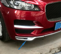 Chrome Front Center Bumper Guard Fog Lamp Cover Trim For Jaguar F-Pace 2016 2017