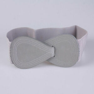 Women Wide Belt Bow Waistband Solid Color Bowknot Leather Elastic Wide Hook Belt