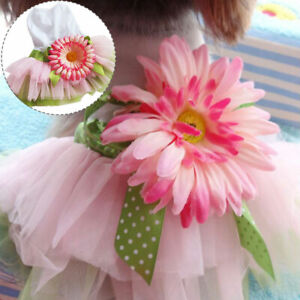 Pet Clothes Dog Cat Tutu Skirt Chihuahua Flower Princess Wedding Party Dress
