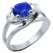 Silver Plated Simulated Sapphire Crown Cocktail Ring Blue Cubic Zirconia Size 9