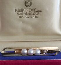 VTG K. MIKIMOTO TOKYO 14k YELLOW GOLD TIE CLASP BAR ACCENTS 3 PEARLS MADE JAPAN