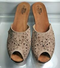 Spring Step Floral Suede Wedge Slide EU 41 Made In Italy