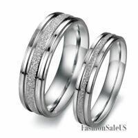 6mm/4mm Polish Stainless Steel Matching Ring Men's Women's Wedding Band Silver