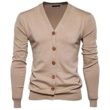 Mens Knitwear Cardigan Sweaters Knitting Jacket Coat Buttons V neck Knit Casual