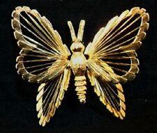Signed Monet Dm12 Vinatge Gold Filigree Butterfly