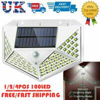 Solar Powered PIR Motion Sensor Light 100 LED Garden Security Wall Light Outdoor