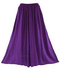 Purple Women Palazzo Wide Leg Pants Trouser Plus Size XL 18