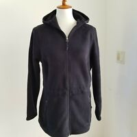 L.L. Bean NWOT Womens M Trail Model Fleece Jacket Black Zip Up Hooded #284625
