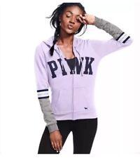 Victorias Secret PINK Full Zip Hoodie Large Sweatshirt Jacket Lilac 2017 NEW