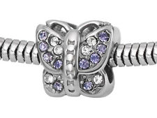 Stainless Steel Butterfly European Bead / Butterfly Charm With CZ Cubic Zirconia