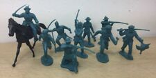 MARX 54mm Alamo Frontiersmen Turquoise 10pcs all 9 poses w/Horse Davy Crockett