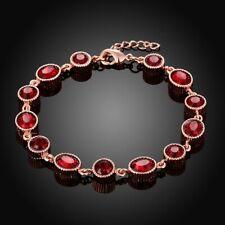 Beautiful!! Ruby & 1/2CT Diamond 3-Stone Bangle Bracelet,18K Rose Gold