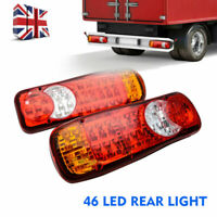 Pair 12V 46 LED Trailer Truck Van Rear Tail Stop Indicator Light Reverse Lamp