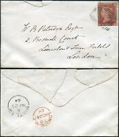 SCOTLAND 1864 MINTLAW NUMERAL on ENVELOPE to LONDON PENNY RED Plate 83