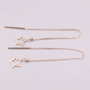 18Kt Rose Gold Luck Star O Chain Earrings Line 0.8-1g / GUARANTEED PURE GOLD