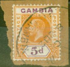 More details for gambia 1912 5d orange & purple sg93var broken frame left centre v.f.u on piece