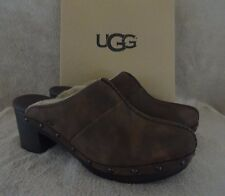 UGG Australia 1013600 Kassi Chocolate Suede Sheepskin Clogs Shoes US 7 EU 38 NWB