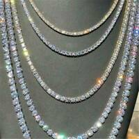 Mens Womens Tennis Chain Choker Clear CZ Stones Hip Hop Shining Necklace Jewelry
