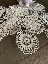 Vintage Floral Cotton Crocheted Lace Runner Set Of 3 🌼