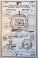 9/23/2011 MIKE TROUT Rookie Los Angeles Angels Game-Used Lineup card