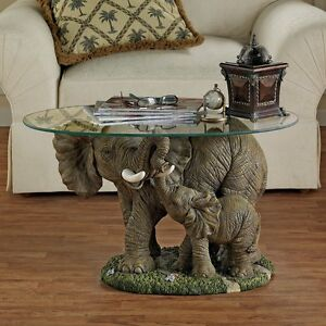 EU30543 - Elephant's Majesty Glass-Topped Cocktail Table