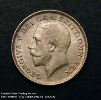 1911 Choice UNC George V Silver Sixpence CGS 82