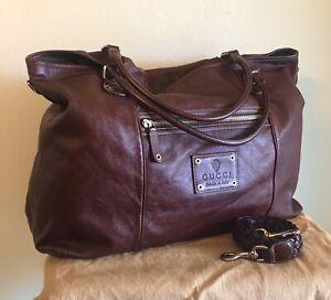 Gucci EXTRA LARGE Burgundy Leather Messenger Handbag Travel 2 Way Crossbody Tote