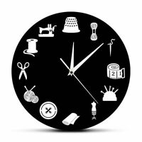 Wall Clock Home Watch Sewing Tools Patterned Quartz Tailor Shop Craft Decoration