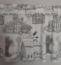 1 farm house farmhouse country barn rooster grain toile window valance curtain