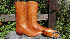 Vintage LUCCHESE Cowboy Boots • Goat • Tan • Mens 11 1/2 B • (Y15)