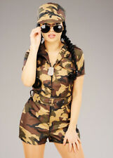Womens Short Camouflage Army Girl Costume