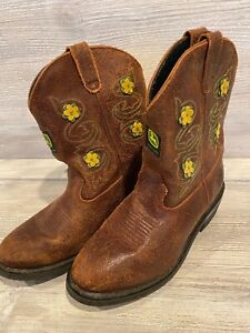 GIRLS JOHN DEERE BOOTS, BROWN, JD3233, YOUTH'S SIZE 5.5M, PREOWNED FLORAL