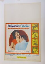 Vintage WHERE THE HOT WIND BLOWS Lollobrigida Montand Movie Poster Window Card