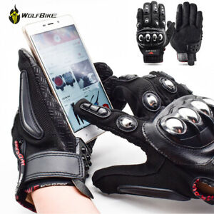 Alloy Steel Motorcycle Gloves Touch Screen Leather Moto Race Skateboard Guantes