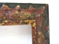 ANTIQUE HAND CARVED DISTRESSED GILDED WOOD FRAME FOR PAINTING 18 X 10 INCH