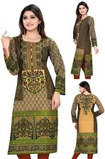 Reino Unido stock-Indio Paquistaní Vestido Túnica Larga De Algodón Kurta Top Para Damas 0376