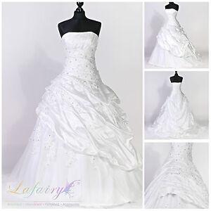 Brautkleider H220 weiß ivory große Größer Falten glänzend Ärmellos Lafairy