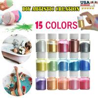 15-Color Mica Powder Natural Pigments Epoxy Resin Dye For DIY Slime Adhesive Bat