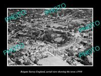 OLD LARGE HISTORIC PHOTO REIGATE SURREY ENGLAND AERIAL VIEW SHOWING TOWN c1950
