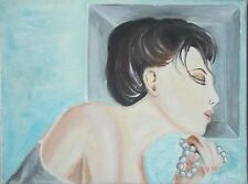 """Tableau peinture huile sur toile """"profil de femme au chignon"""" signé M.Gravier c."""
