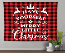 Christmas Elk Black Red Checkered Tapestry Wall Hanging Living Room Bedroom Dorm