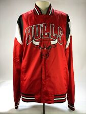 NBA Chicago Bulls Spell Out Snap Front Warm Up Jacket Men's Large Red Polyester