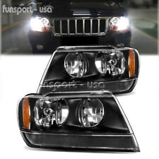 BLACK HOUSING FOR 1999-2004 JEEP GRAND CHEROKEE AMBER CORNER HEADLIGHT/LAMP SET