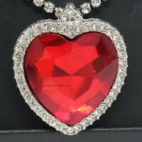 Large 9CT Heart Shaped Red Ruby Necklace Women Jewelry 14K White Gold Plated