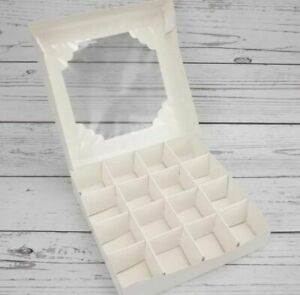 *SALE* L@@K* 1 X  EMPTY WHITE SWEET BOXES WITH ACETATE WINDOW, WITH INSERTS NEW